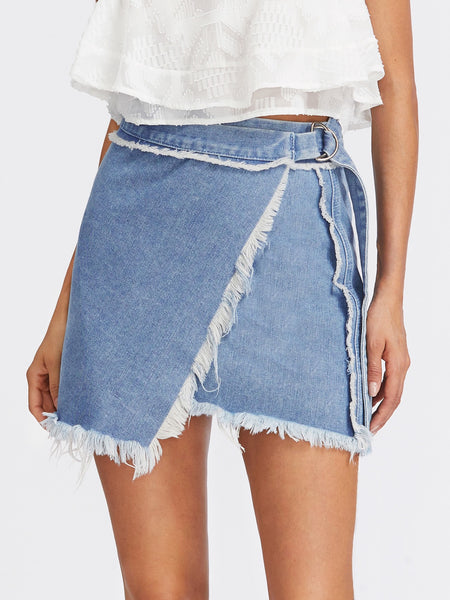 Frayed Denim Lap Skirt