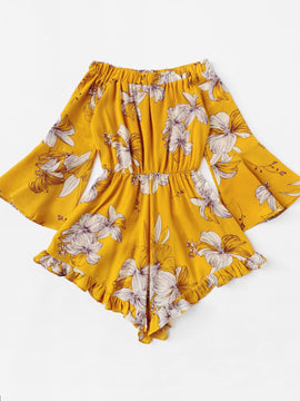 Yellow Floral Flare Sleeve Romper