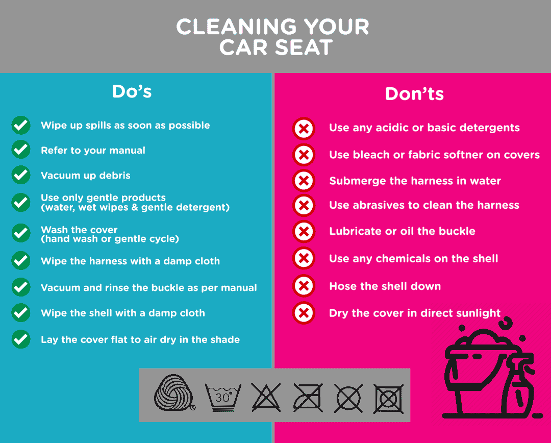 Do's and Don'ts when safely cleaning a car seat