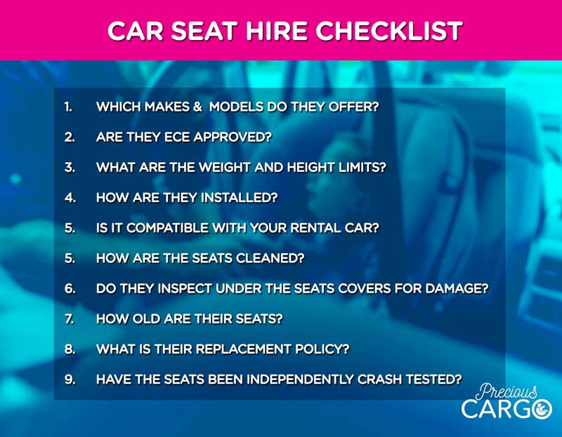 RENTING INFANT AND TODDLER CAR SEATS- HIRE CHECKLIST