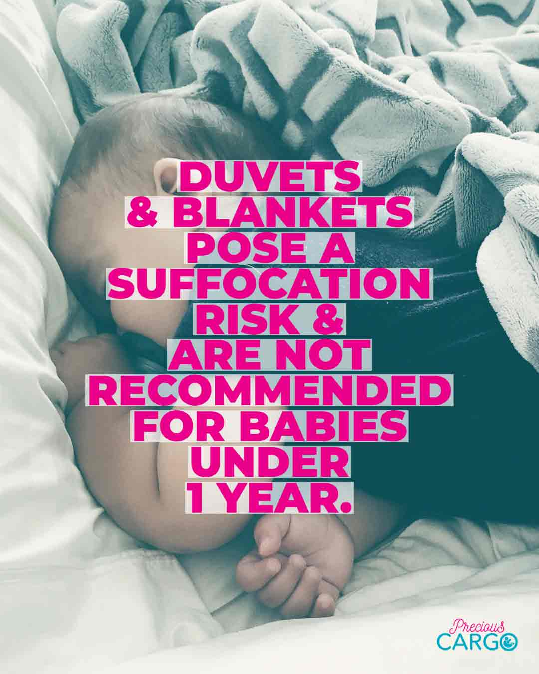 it is not safe to use duvet in baby's cot