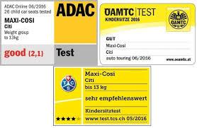 maxi cosi citi adac safety ratings