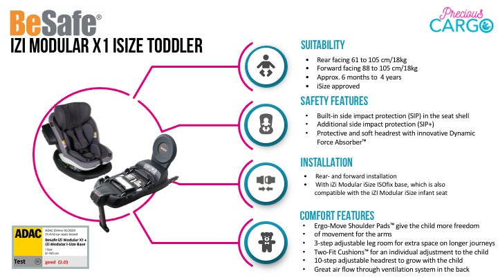 besafe izi modular x1 features and safety ratings