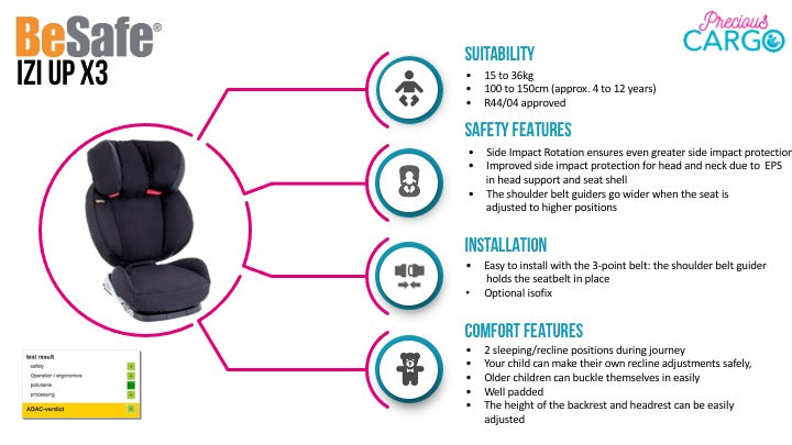 besafe izi up x3 isofix features and safety ratings