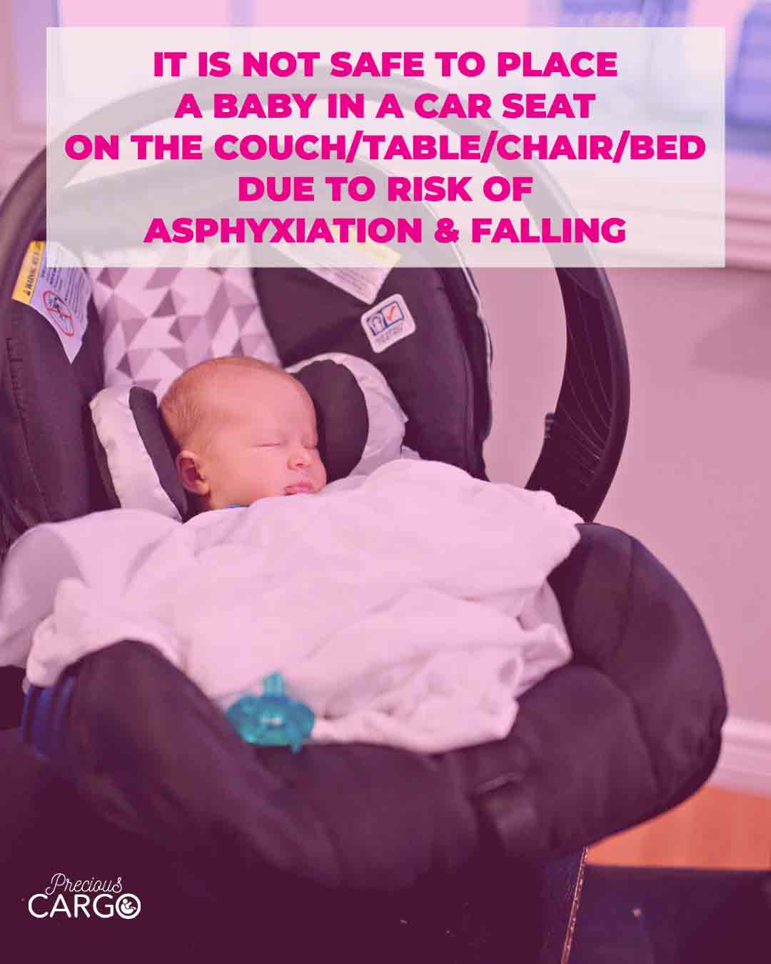 do not put car seat on table chair couch
