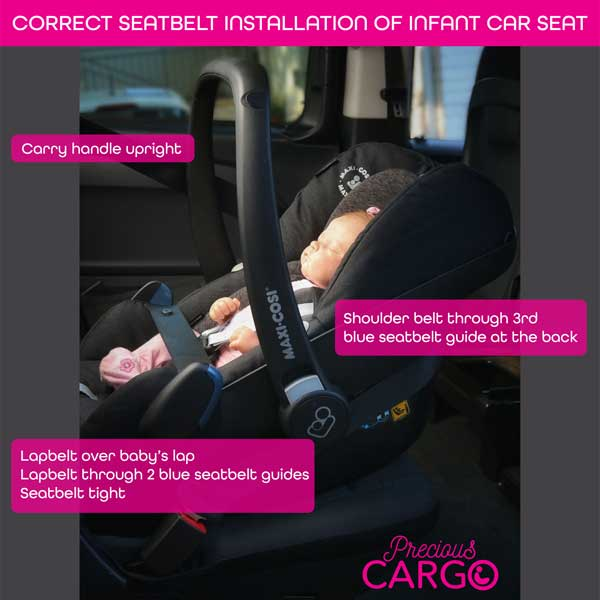 correct infant car seat installation with seatbelt
