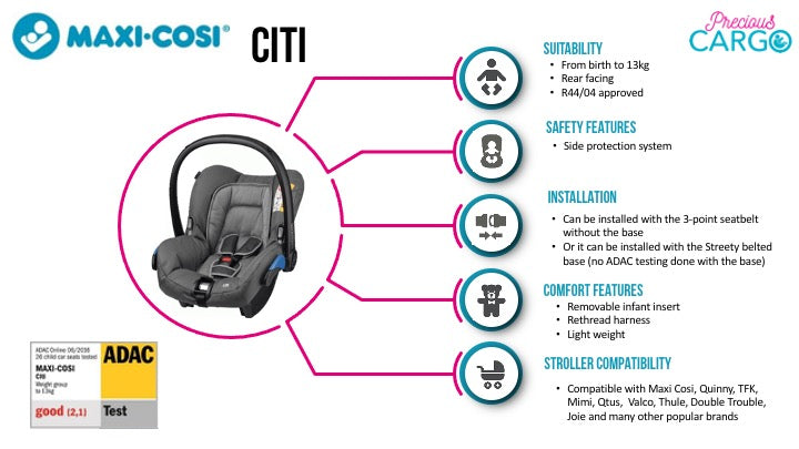 maxi cosi citi safety ratings and features