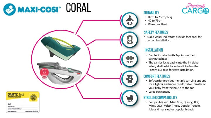 maxi cosi coral safety ratings and features