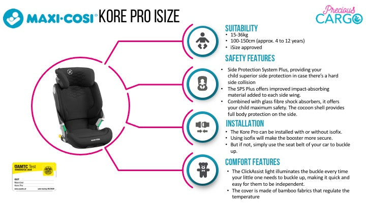 maxi cosi kore pro safety ratings and features