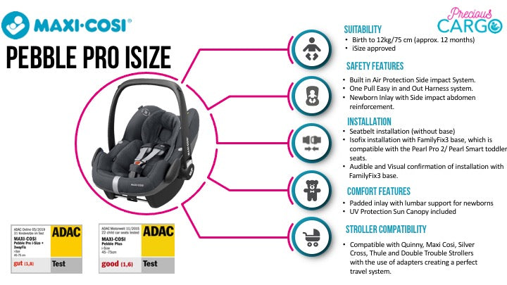 maxi cosi pebble pro safety ratings and features