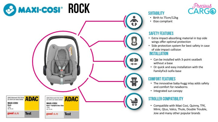 maxi cosi rock safety ratings and features