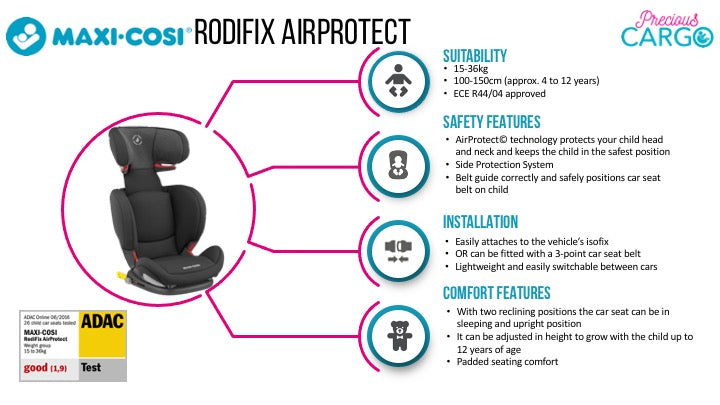 maxi cosi rodifix airprotect safety ratings and features