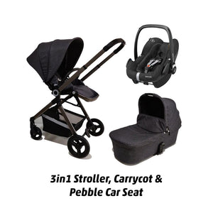 ALFA KIDS DELUXE STROLLER, CARRY COT AND PEBBLE PRO