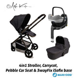 ALFA KIDS DELUXE STROLLER, CARRY COT, PEBBLE PRO AND FAMILYFIX3