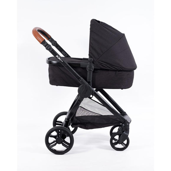 MIMI LUXE 2-in-1 CARRY COT TRAVEL SYSTEM (Jet Black with tan handle)