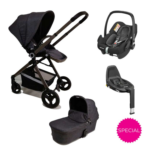 ALFA KIDS DELUXE STROLLER, CARRY COT, ROCK AND FAMILYFIX3