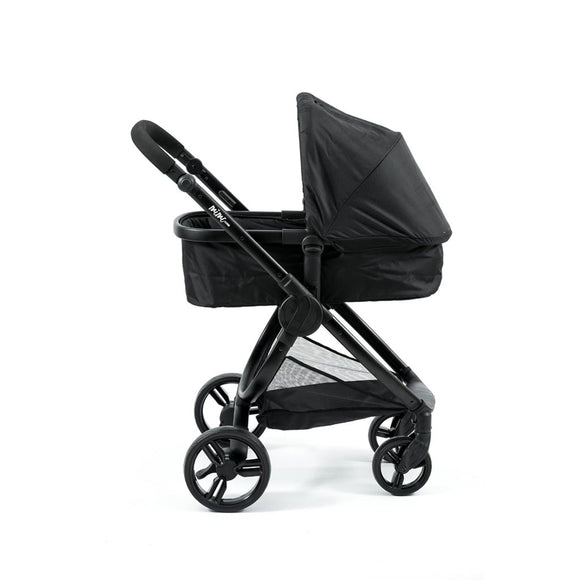 MIMI LUXE 2-in-1 CARRY COT TRAVEL SYSTEM (Jet Black with black handle)