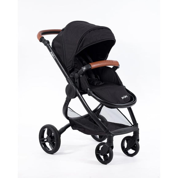 MIMI LUXE PRAM (Jet Black with tan handles)