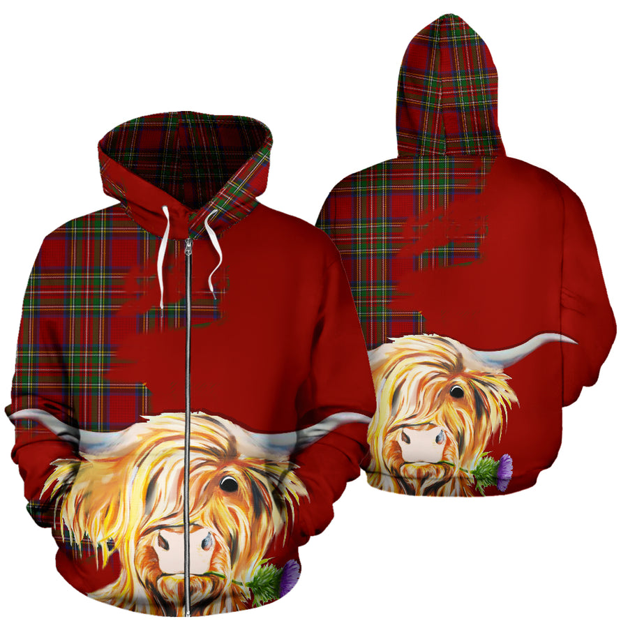a519606cd44a6 THISTLE HIGHLAND COW ROYAL ALL OVER ZIP HOODIE