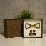 James Clark Wooden Bow Tie + Cufflinks - Patore' UK - Wooden Bow Ties