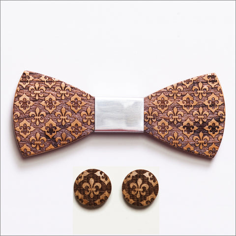 Henry Powell Wooden Bow Tie + Cufflinks - Patore' UK - Wooden Bow Ties