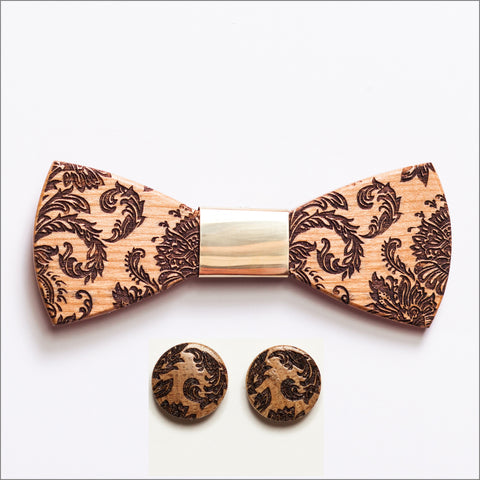 Louis Hayes Wooden Bow Tie + Cufflinks - Patore' UK - Wooden Bow Ties