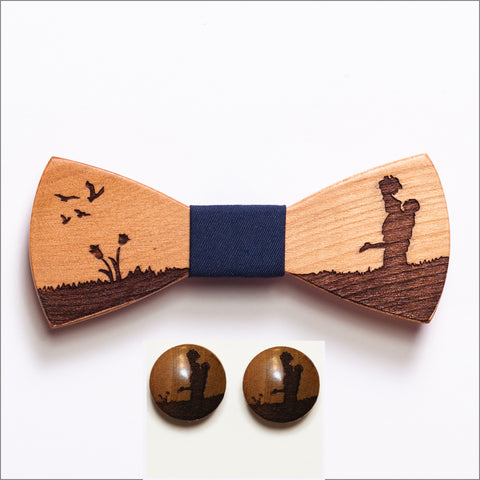 Victor Love Wooden Bow Tie + Cufflinks - Patore' UK - Wooden Bow Ties