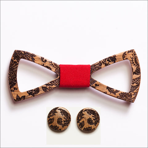 Stephen Green Wooden Bow Tie + Cufflinks - Patore' UK - Wooden Bow Ties