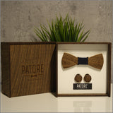 Richard Hill Wooden Bow Tie + Cufflinks - Patore' UK - Wooden Bow Ties