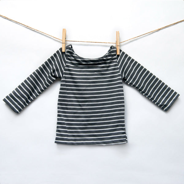 Top Unico - Grey/white stripes