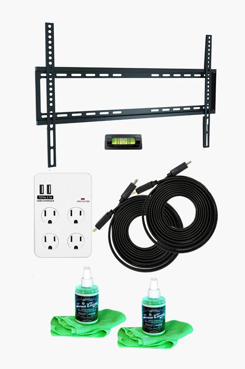 Fixed TV Wall Mount Kit — Ultimate Bundle for 37-70 Inch TVs + SurgePro 4-Outlet Surge Adapter w/ 2 USB ports + 2 LED TV Screen Cleaning Kits + 2 HDMI Cables