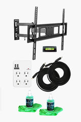 Full-Motion TV Wall Mount Kit — Ultimate Bundle for 32-70 Inch TVs + SurgePro 4-Outlet Surge Adapter w/ 2 USB ports + 2 LED TV Screen Cleaning Kits + 2 HDMI Cables