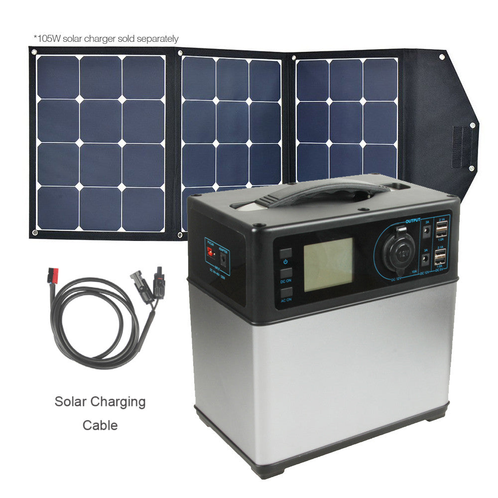Portable Power Supply 400Wh/100,000mAh - Charges via AC or Solar Panel