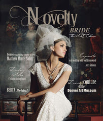 Genevieve Rose Bridal Headband in one the Cover of Novelty Bride July 2015