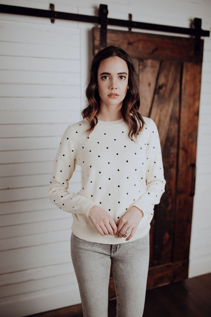 Embroidered Polka Dot Sweater
