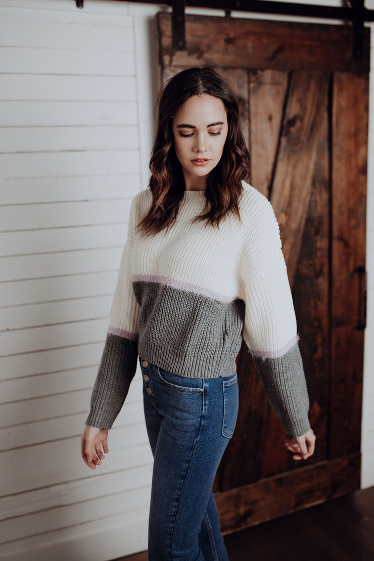 August Lilac Stripe Sweater