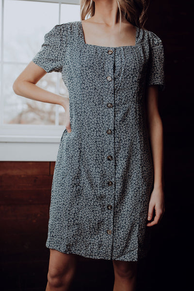 Tiny Floral Button Down Dress