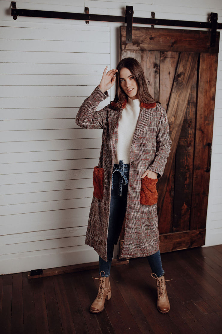 Furry Plaid Coat