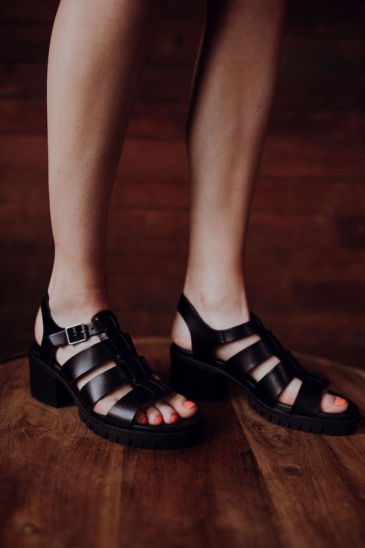 MIA Black Chunky Heel Sandals