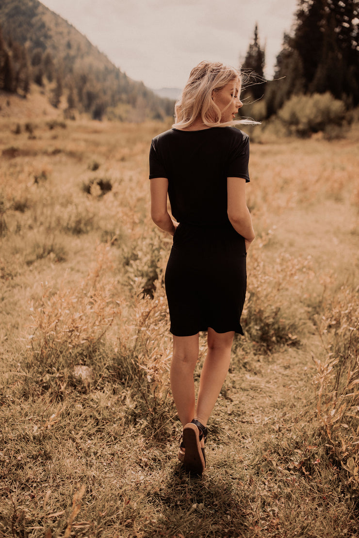 Black Drawstring Tee Dress