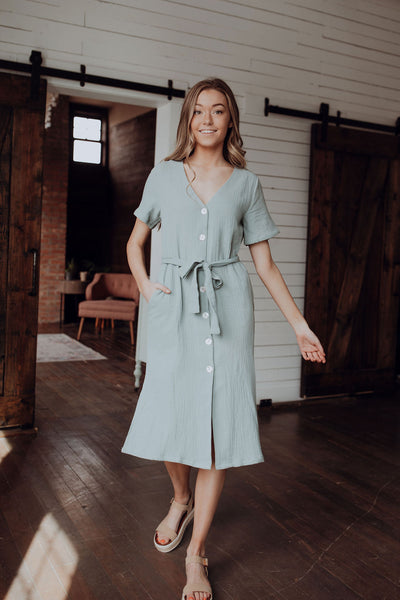 Seafoam Button Down Midi Dress