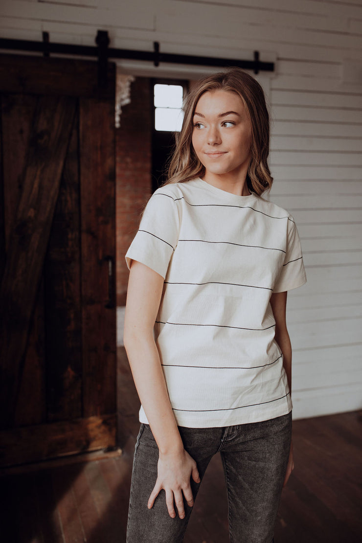 Thinly Striped Black Tee