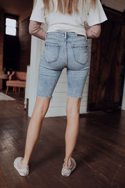 Distressed Denim Knee Length Shorts