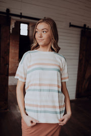 Coral Stripes Tee