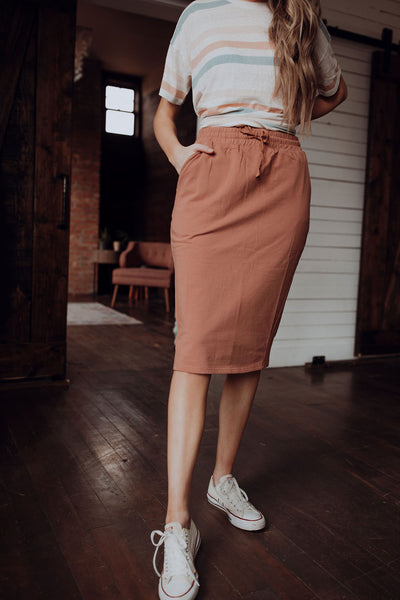 Knit Drawstring Skirt in Rust