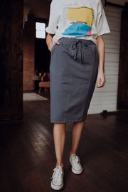 Knit Drawstring Skirt in Slate