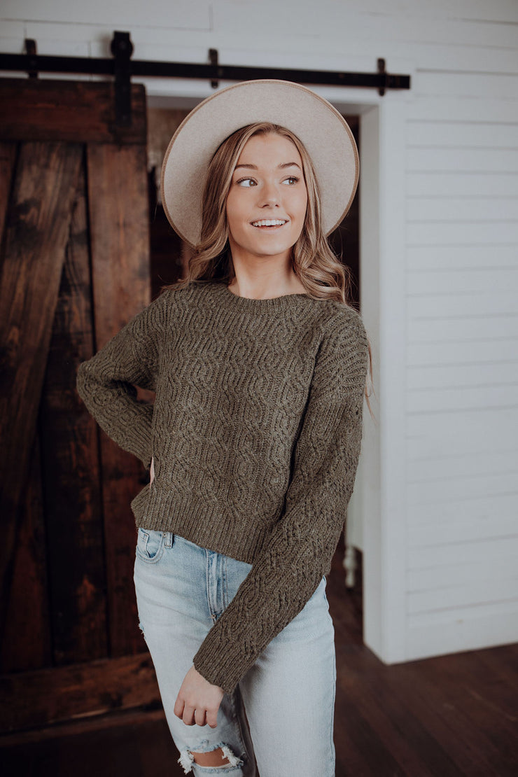 Olive You Cropped Sweater