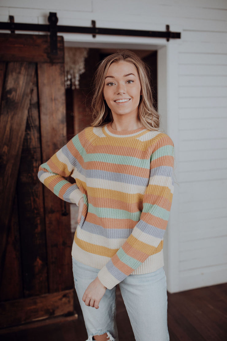 Rainbow Road Pastel Striped Sweater