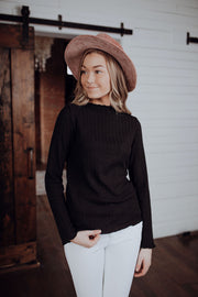 Black Braid Textured Top