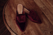 Zink Burgundy Furry Slides